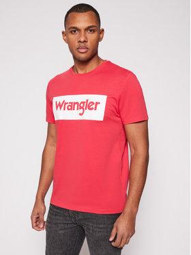 Wrangler Wrangler T-Shirt Logo W742FKXA4 Czerwony Regular Fit