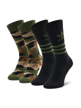 adidas adidas Set de 2 perechi de șosete lungi unisex Camo Crew Sock GN3092 Verde