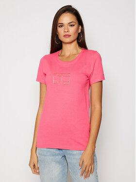 Tommy Jeans Tommy Jeans T-Shirt Metallic Outline Flag Tee DW0DW08473 Růžová Regular Fit
