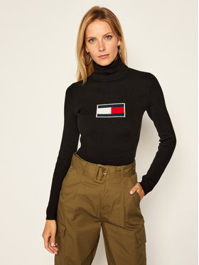 Tommy Jeans Tommy Jeans Bluză cu gât Flag Roll DW0DW08857 Negru Slim Fit