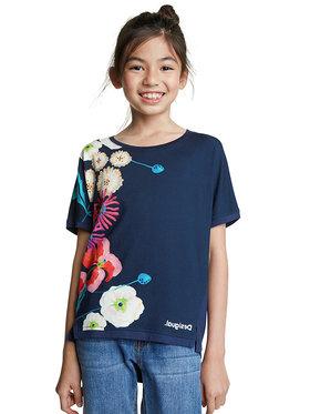 Desigual Desigual Marškinėliai Rhodeisland 20SGTK92 Tamsiai mėlyna Regular Fit