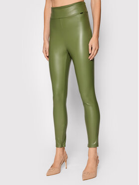Guess Guess Spodnie z imitacji skóry Priscilla W1RB25 WBG60 Zielony Slim Fit
