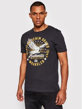 Wrangler Wrangler T-shirt Ss Classic Americana W7AHD3XV6 Crna Regular Fit