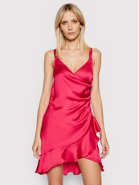 Guess Guess Коктейлна рокля W1GK0W WCUN0 Розов Slim Fit