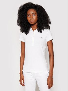 Tommy Hilfiger Tommy Hilfiger Тениска с яка и копчета 1M57636661 Бял Slim Fit