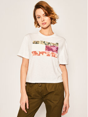Tommy Jeans Tommy Jeans T-shirt Camo Flag Tommy Tee DW0DW08051 Blanc Regular Fit