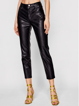Pinko Pinko Kožené kalhoty Susan PE 21 BLK01 1G15ZV 7105 Černá Slim Fit