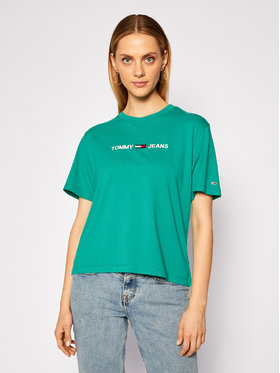 Tommy Jeans Tommy Jeans Tricou Modern Linear Logo Tee DW0DW08615 Verde Regular Fit