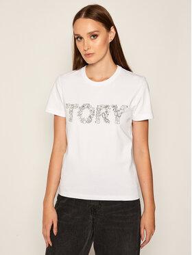 Tory Burch Tory Burch T-shirt Paisley Embellished 73626 Bijela Regular Fit