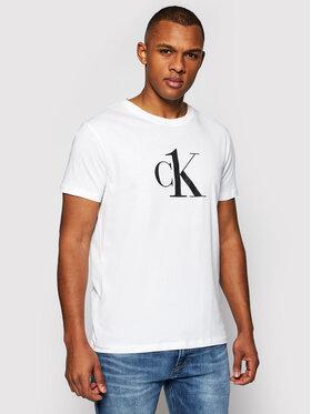 Calvin Klein Swimwear Calvin Klein Swimwear T-Shirt KM0KM00646 Biały Relaxed Fit