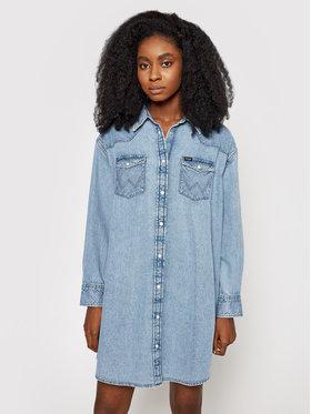 Wrangler Wrangler Sukienka jeansowa Western W9P6LWX4E Niebieski Regular Fit