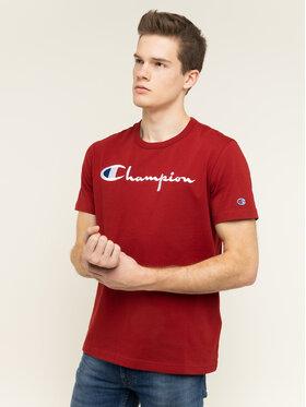 Champion Champion T-Shirt Embroidered Script Logo 210972 Bordowy Regular Fit