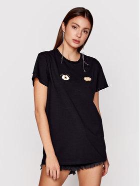PLNY LALA PLNY LALA T-shirt Look And Kiss PL-BL-MZ-00006 Crna Classic Fit