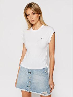 Tommy Jeans Tommy Jeans T-Shirt Side Knot DW0DW09776 Bílá Regular Fit