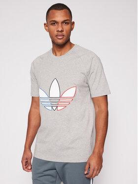 adidas adidas T-Shirt adicolor Tricolor GQ8917 Γκρι Regular Fit