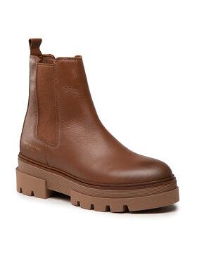 Tommy Hilfiger Tommy Hilfiger Členková obuv s elastickým prvkom Monochromatic Chelsea Boot FW0FW05950 Hnedá