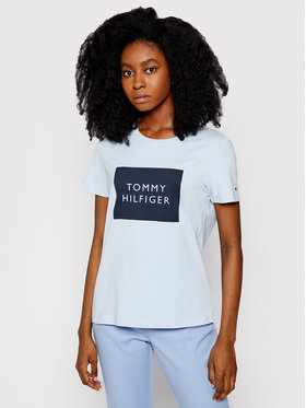Tommy Hilfiger Tommy Hilfiger T-Shirt Box C-Nk WW0WW30658 Modrá Regular Fit