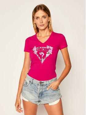 Guess Guess Marškinėliai Britney Tee W0YI85 J1300 Rožinė Slim Fit