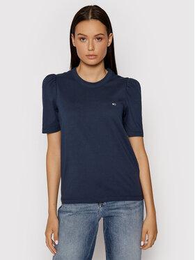 Tommy Jeans Tommy Jeans T-Shirt Tjw Ruffled Tee DW0DW09775 Tmavomodrá Slim Fit