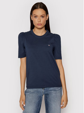 Tommy Jeans Tommy Jeans Tricou Tjw Ruffled Tee DW0DW09775 Bleumarin Slim Fit