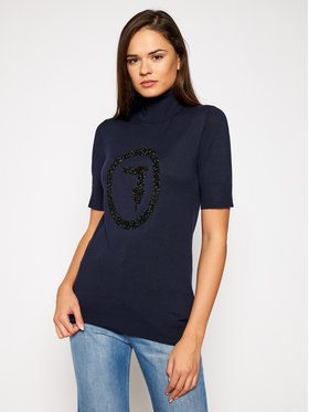 Trussardi Jeans Trussardi Jeans Bluză cu gât 56M00324 Bleumarin Regular Fit