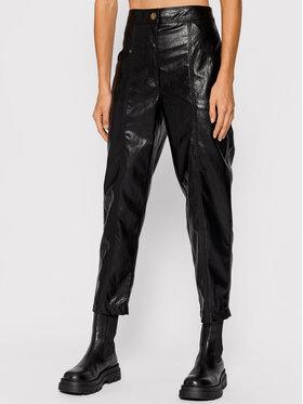 TWINSET TWINSET Nohavice z imitácie kože 212TT2051 Čierna Regular Fit