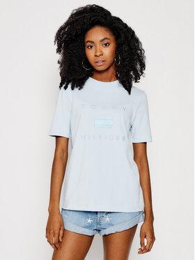 Tommy Hilfiger Tommy Hilfiger T-Shirt Tonal WW0WW29582 Modrá Regular Fit