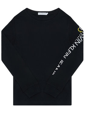 Calvin Klein Calvin Klein Bluză Repeat Logo Ls IB0IB00528 Negru Regular Fit