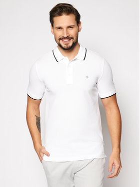 Calvin Klein Calvin Klein Polo Stretch Tipping K10K107211 Biały Slim Fit