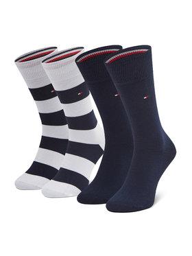 Tommy Hilfiger Tommy Hilfiger Súprava 2 párov vysokých pánskych ponožiek 342021001 Tmavomodrá