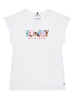 Tommy Hilfiger Tommy Hilfiger T-Shirt Photo Print KG0KG05867 M Biały Regular Fit