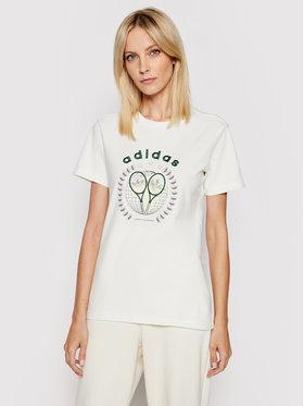 adidas adidas T-shirt Tennis Luxe Graphic Tee H56455 Blanc Regular Fit