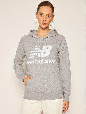 New Balance New Balance Bluza Esse po Hoodie NBWT0355 Szary Relaxed Fit
