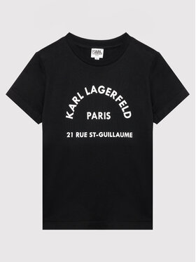 KARL LAGERFELD KARL LAGERFELD Тишърт Z25316 S Черен Regular Fit