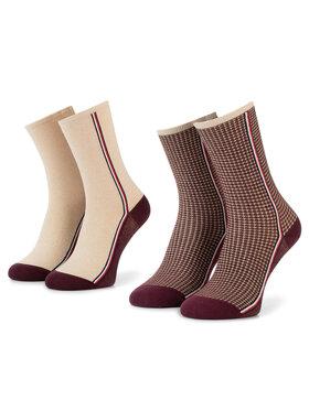 TOMMY HILFIGER TOMMY HILFIGER Moteriškų ilgų kojinių komplektas (2 poros) 493016001 Bordinė