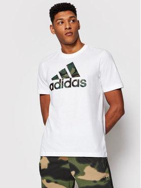 adidas adidas Tričko Essentials Camouflage Print GK9635 Biela Regular Fit