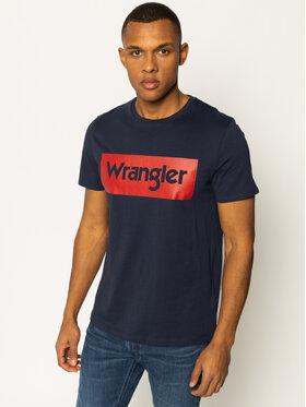 Wrangler Wrangler Marškinėliai Logo Tee W742FK114 Tamsiai mėlyna Regular Fit