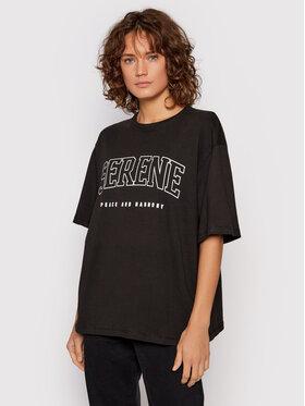 NA-KD NA-KD T-Shirt Serene Printed 1100-004260-0002-003 Czarny Regular Fit
