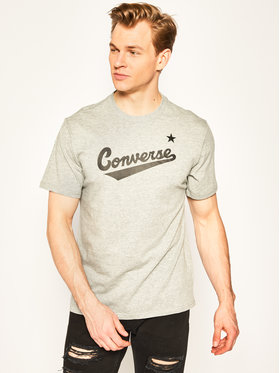 Converse Converse Tricou Center Front Logo 10018235-A04 Gri Regular Fit