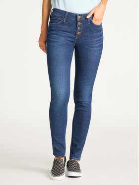 Lee Lee Skinny Fit Jeans Button Thru Scarlett L31YRONR Dunkelblau Skinny Fit