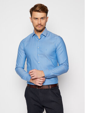 Calvin Klein Calvin Klein Košile Structrure Easy Care K10K106237 Modrá Slim Fit