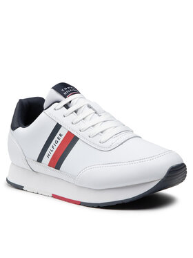 Tommy Hilfiger Tommy Hilfiger Sportcipő Essential Runner Stripes Leather FM0FM03744 Fehér