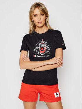 Champion Champion Marškinėliai Basketball Logo Digital Print 112965 Juoda Custom Fit