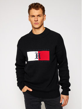 TOMMY HILFIGER TOMMY HILFIGER Sveter LEWIS HAMILTON Box Aw Ribbed MW0MW15353 Čierna Relaxed Fit