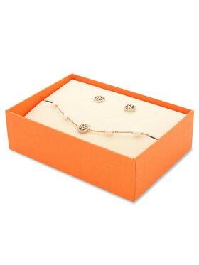 Tory Burch Tory Burch Комплект гривна и обеци Miller Pave Bracelet And Stud Earring Set 80319 Златист