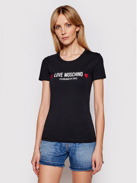 LOVE MOSCHINO LOVE MOSCHINO Marškinėliai W4H1904E 1951 Juoda Slim Fit
