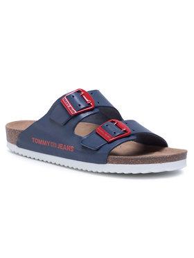 Tommy Jeans Tommy Jeans Șlapi Color Block Flat Sandal EN0EN00835 Bleumarin