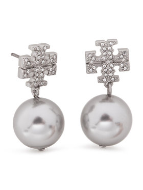 Tory Burch Tory Burch Cercei Crystal Pearl Logo Drop Earring 53339 Argintiu