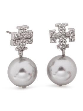 Tory Burch Tory Burch Kolczyki Crystal Pearl Logo Drop Earring 53339 Srebrny