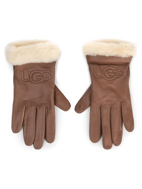 Ugg Ugg Дамски ръкавици W Classic Leather Logo Glove 19034 Кафяв